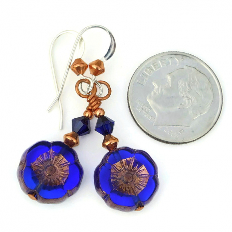 cobalt blue flower jewelry with copper