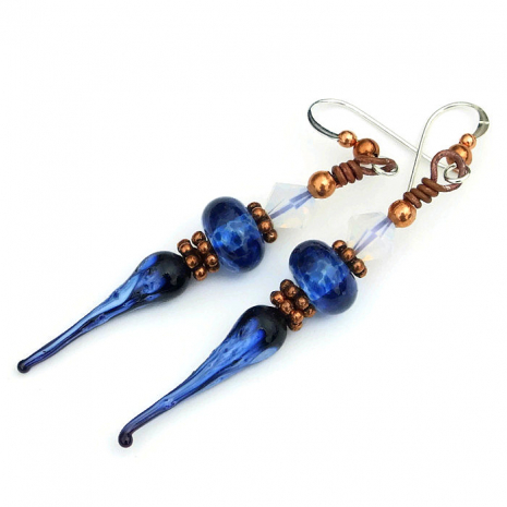 blue spikes boho jewelry