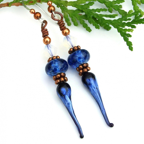 blue lampwork earrings for women with swarovski crystals