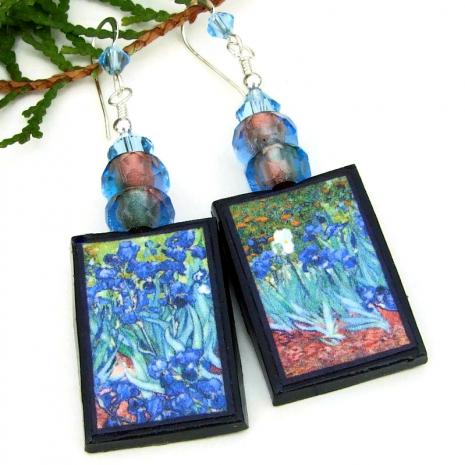 blue irises flowers van gogh jewelry