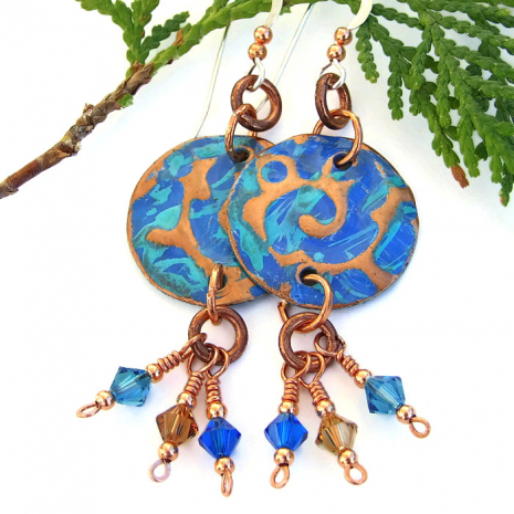 Blue and turquoise copper jewelry.