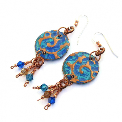 Copper disc earrings with Swarovski crystals.