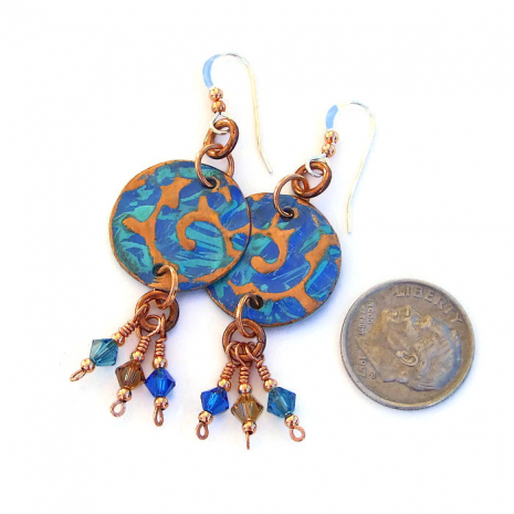 Hand painted blue and turquoise earrings.