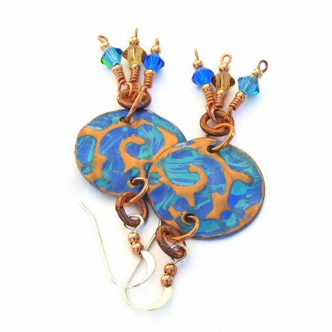 Copper disc jewelry for women.
