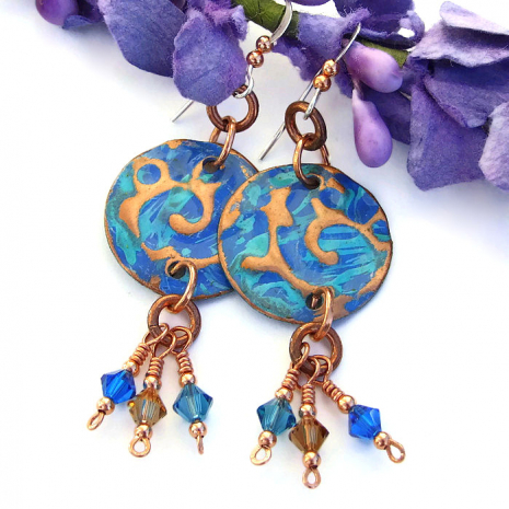 Blue and turquoise copper earrings.