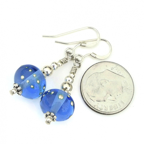 blue lampwork and silver jewelry gift idea for women