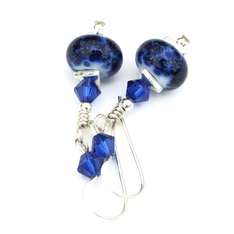 blue lampwork and swarovski crystal earrings gift for her