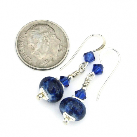 blue lampwork and swarovski crystal jewelry gift for her