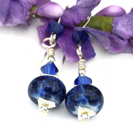 blue lampwork crystals sterling silver jewelry