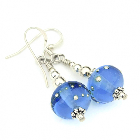 blue lampwork and silver earrings gift idea for women