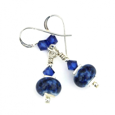 blue lampwork glass earrings gift for women