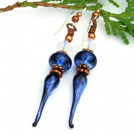handmade blue icicle earrings for her