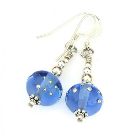 artisan handmade blue earrings