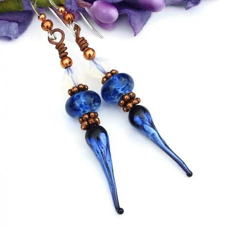 blue spikes boho earrings
