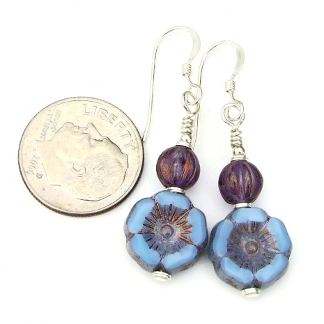 blue pansy flower jewelry gift for her