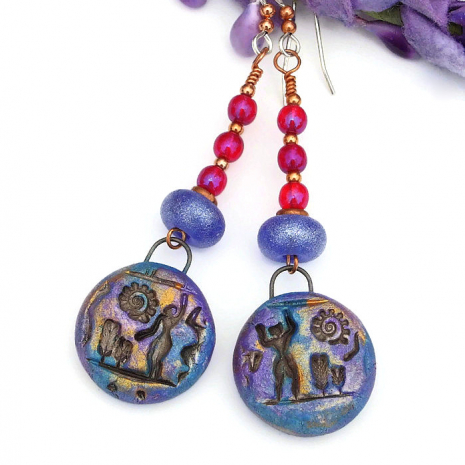 blue purple and gold hieroglyph jewelry