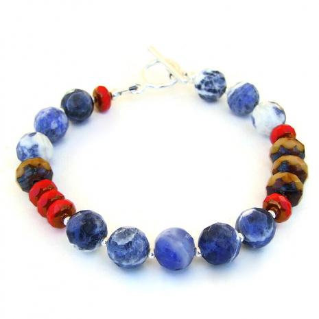 blue red brown handmade bracelet gift for her