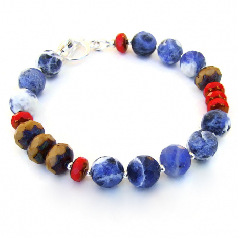 blue red brown handmade jewelry gift for her