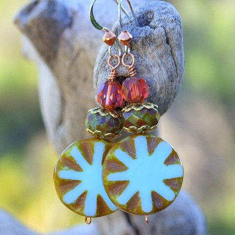 Unique sky blue Czech glass star burst handmade earrings with copper and silver