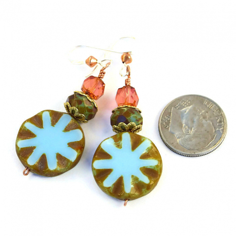 Artisan made blue star burst, moss green and peach Czech glass earrings.