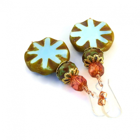 One of a kind star burst Czech glass artisan earrings with a Picasso finish
