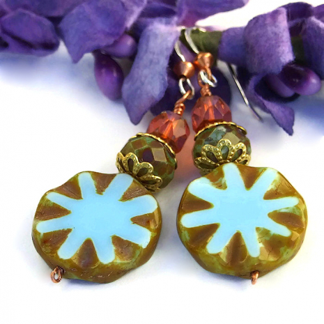 Blue Star Artisan Earrings, Czech Glass, Handmade Jewelry