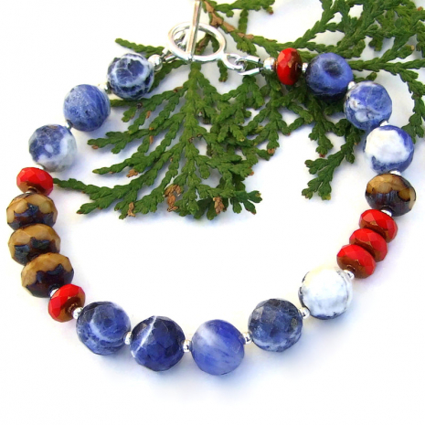 blue sodalite brown red czech glass handmade bracelet jewelry gift