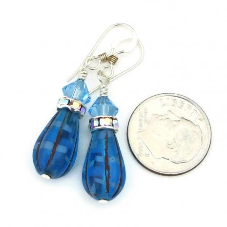 blue teardrop jewelry crystals sterling silver