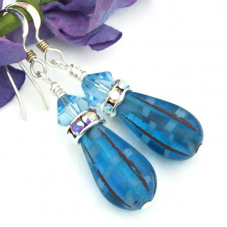 blue teardrop swarovski crystal earrings