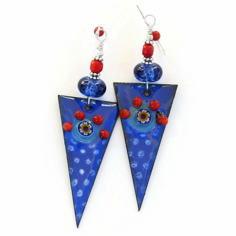 blue white red enamel spike dagger earrings gift for her
