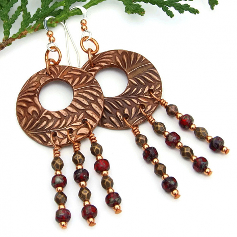 boho copper and red chandelier earrings gift idea for her