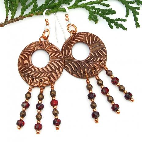 Boho fern chandelier hoop earrings for women.