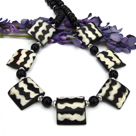boho batik bone flag bead necklace with black onyx gemstones
