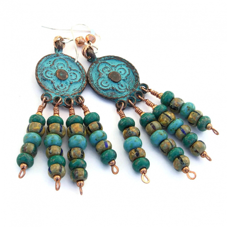Unique antique look boho chandelier earrings with cross design.