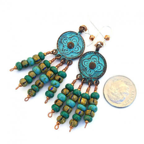 Gypsy-inpsired handmade chandelier earrings with patina Mykonos charms.