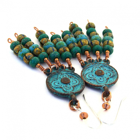 Artisan handmade Coachella inspired handmade boho chandelier earrings.