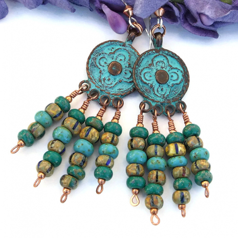Antique look green patina Mykonos charm earrings with Czech glass beads.