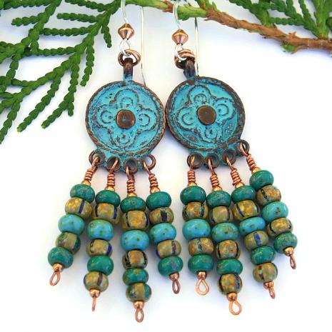 One of a kind boho chandelier earrings with patina Mykonos charms.