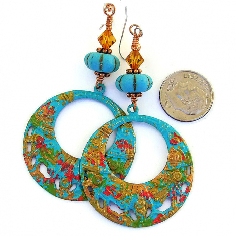 Hand painted boho Coachella hippie hoop earrings.