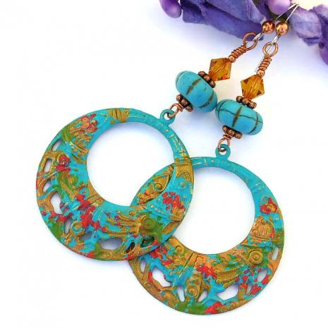 One of a kind boho filigree earrings.