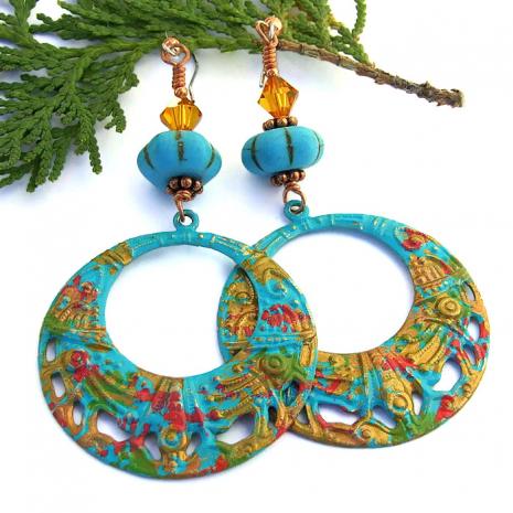 Boho hoop earrings.
