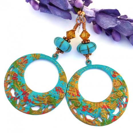 Colorful handmade Coachella hippie hoop earrings