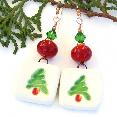 boho christmas tree handmade earrings red green white