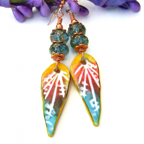 boho colorful polymer clay teardrop earrings lightweight