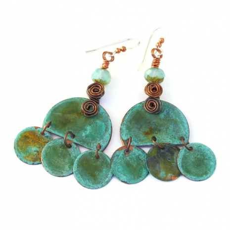 boho dangle earrings with turquoise patinated copper