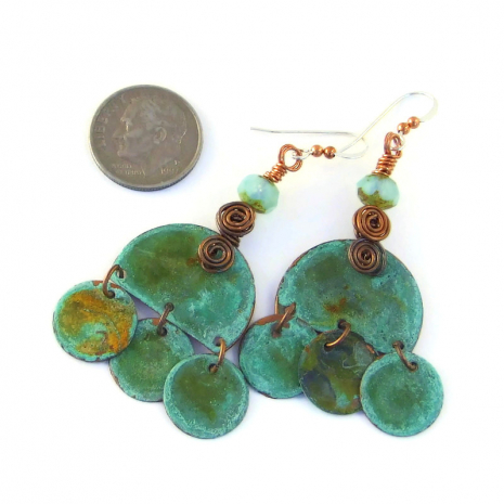 boho dangle jewelry with turquoise patinated copper