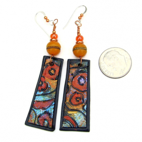 boho klimt inspired lightweight earrings tibetan amber resin beads