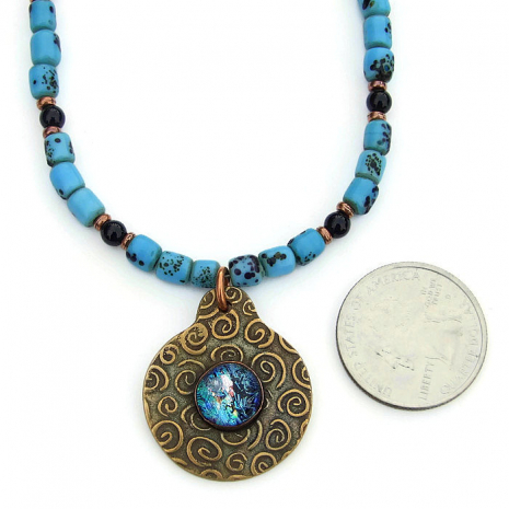 bronze spiral pendant jewelry with turquoise and black sherpa beads