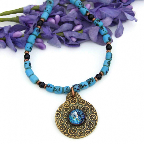 bronze spiral pendant necklace with turquoise and black sherpa beads