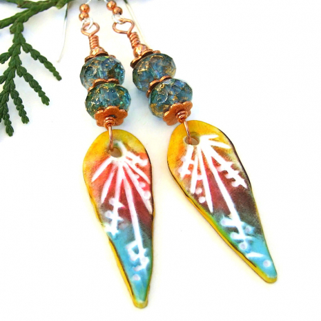 boho turquoise red yellow teardrop earrings hand carved polymer clay